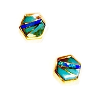 Bronze Post Earrings- Turquoise & Opal Inlay