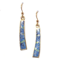 Bronze Dangle Earrings- Denim Lapis & Opal Inlay