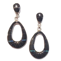 Bronze Post Dangle Earrings- Black Onyx & Opal Inlay