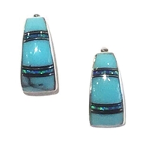 Sterling Silver Post Earrings- Turquoise & Opal Inlay