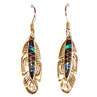 Bronze Dangle Earrings- Black Onyx & Opal Inlay