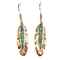 Bronze Dangle Earrings- Turquoise & Opal Inlay