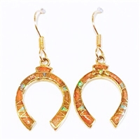 Bronze Dangle Earrings- Coral & Opal Inlay