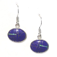 Sterling Silver Dangle Earrings- Lapis & Opal Inlay