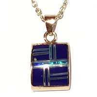 Bronze Pendant/Necklace- Lapis & Opal Inlay
