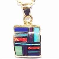 Bronze Pendant/Necklace- Multi Stone Inlay