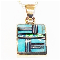 Bronze Pendant/Necklace- Turquoise & Opal Inlay