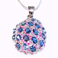 Sterling Silver Pendant/Necklace- Blue Topaz & Ruby