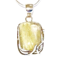 Sterling Silver Pendant/Slide- Rutilated Quartz