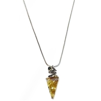 14k White Gold Pendant/Slide- Rutilated Quartz & Green Diamond