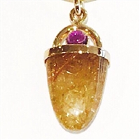 14k Gold Pendant/Slide- Rutilated Quartz & Amethyst