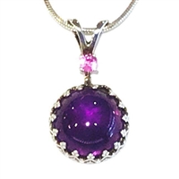 Sterling Silver Pendant/Slide- Amethyst & Pink Sapphire