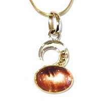 Sterling Silver & 22K Gold Pendant- Oregon Sunstone