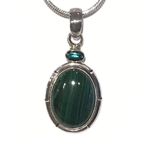 Sterling Silver Pendant- Malachite