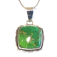 Sterling Silver Pendant- Green Turquoise