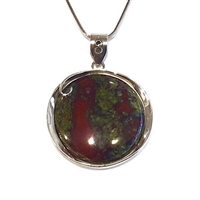 Sterling Silver Pendant- Dragon's Blood Jasper