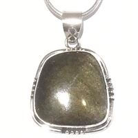 Sterling Silver Pendant- Gold Sheen Obsidian