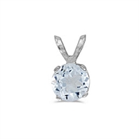 14k White Gold Aquamarine Pendant--March Birthstone