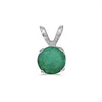 14k White Gold Emerald Pendant--May Birthstone