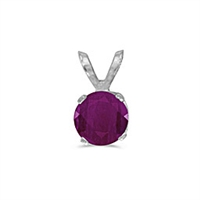 14k White Gold Ruby Pendant--July Birthstone