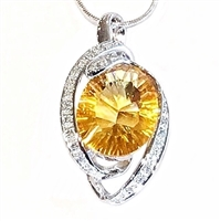 14K White Gold Citrine & Diamond Pendant--Substitute November Birthstone