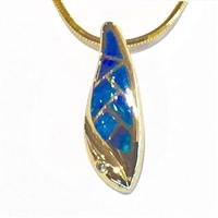14k Gold Pendant/Slide/Enhancer-Australian Opal & Diamond