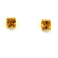 14k Gold Post Earrings- Citrine