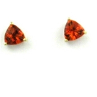 14k Gold Post Earrings- Lab-Created Orange Sapphire