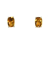 14k White Gold Post Earrings--Citrine