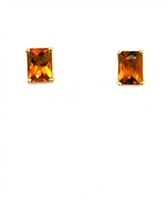 14k Gold Post Earrings--Citrine