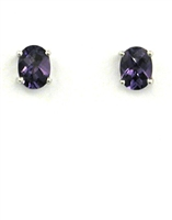 14k White Gold Post Earrings- Lab Created Alexandrite