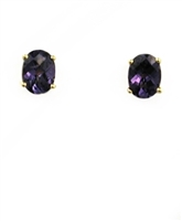 14k Gold Post Earrings- Lab Created Alexandrite