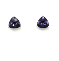 14k Gold Post Earrings- Lab-Created Alexandrite
