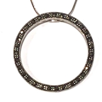 Sterling Silver Marcasite Circle Pendant