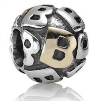 "Authentic Pandora Initial Bead-""B"" w/14k Gold Accents-RETIRED"