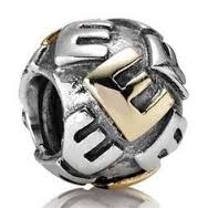 "Authentic Pandora Initial Bead-""E"" w/14k Gold Accents-RETIRED"