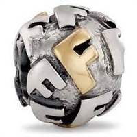 "Authentic Pandora Initial Bead-""F"" w/14k Gold Accents-RETIRED"