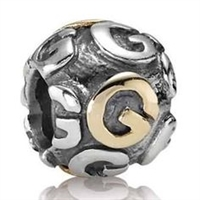 "Authentic Pandora Initial Bead-""G"" w/14k Gold Accents-RETIRED"