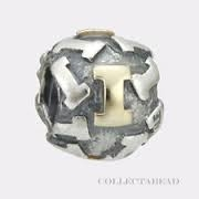 "Authentic Pandora Initial Bead-""I"" w/14k Gold Accents-RETIRED"
