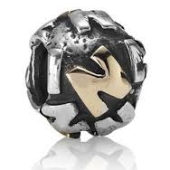 "Authentic Pandora Initial Bead-""N"" w/14k Gold Accents-RETIRED"