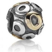"Authentic Pandora Initial Bead-""O"" w/14k Gold Accents-RETIRED"