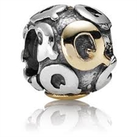 "Authentic Pandora Initial Bead-""Q"" w/14k Gold Accents-RETIRED"