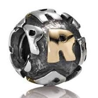 "Authentic Pandora Initial Bead-""R"" w/14k Gold Accents-RETIRED"