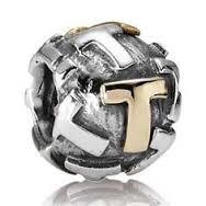 "Authentic Pandora Initial Bead-""T"" w/14k Gold Accents-RETIRED"