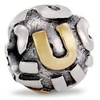 "Authentic Pandora Initial Bead-""U"" w/14k Gold Accents-RETIRED"