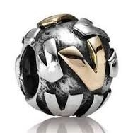 "Authentic Pandora Initial Bead-""V"" w/14k Gold Accents-RETIRED"