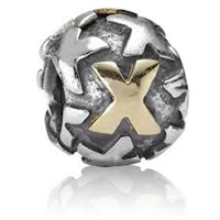"Authentic Pandora Initial Bead-""X"" w/14k Gold Accents-RETIRED"