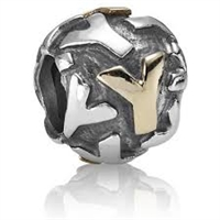 "Authentic Pandora Initial Bead-""Y"" w/14k Gold Accents-RETIRED"
