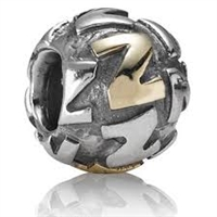 "Authentic Pandora Initial Bead-""Z"" w/14k Gold Accents-RETIRED"