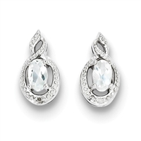 Sterling Silver White Topaz & Diamond Post Earrings- Substitute April Birthstone